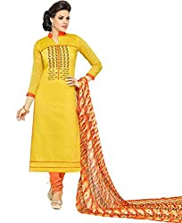 ShivFab Present All New Formal Wear Embroidered Yellow Color Dress Meterial.(COTTON DRESS) ANGROOP DAIRYMILK VOL_10