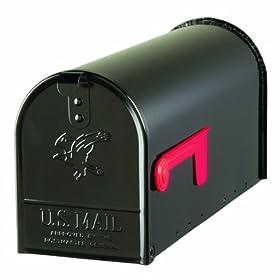 Solar Group E100B00 Standard Size Galvanized Steel Rural Mailbox, Black