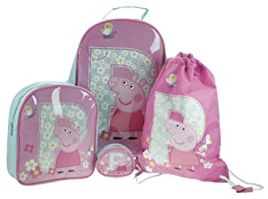 Peppa001109 Childrens Peppa Pig 4 Piece Wheeled Trolley Bag Backpack Swimbag And Purse Luggage Travel Set