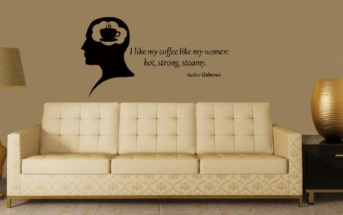 Housewares Vinyl Decal Quote I Like My Coffee Like My Women Man Thoughts Cafe Kitchen Home Wall Art Decor Removable Stylish Sticker Mural Unique Design For Any Room