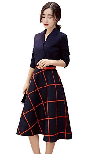 iRachel Womens Long Sleeve V Neck Casual Slim Tunic Plaids A-Line Shirt Dress
