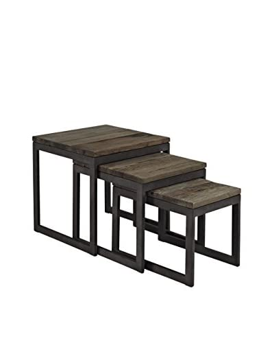 Modway Set of 3 Covert Wood Top Nesting Tables, Brown
