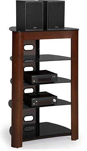 Centurion Supports Zinnia 5 - mensola nero lucido con ricco di noce vero legno impiallacciato plancia TV a schermo piatto / Hi-Fi / AV basamento di vetro cremagliera