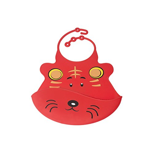 ALEKO-SBB03RD-Stain-Resistant-Waterproof-Silicone-Front-Pocket-Baby-Bib-Fun-Cartoon-Face-Feeding-Bib-Red