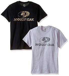 Mossy Oak Men's 2-Pack Short Sleeve Tees, Sport Grey/Black, 3X-Large
