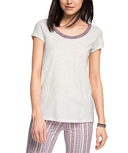 ESPRIT Woven Neck Tee-T-shirt  Donna    Bianco (Bright White) 44