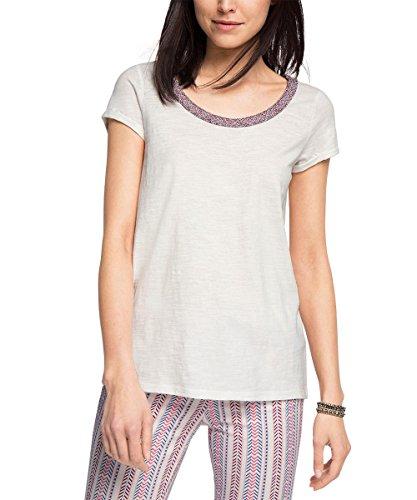 ESPRIT Woven Neck Tee-T-shirt  Donna    Bianco (Bright White) 44