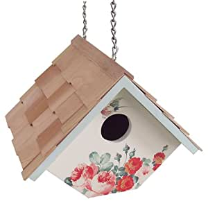 Home Bazaar Printed Wren Hanging Birdhouse, Peony with Cream Background (Discontinued by Manufacturer)