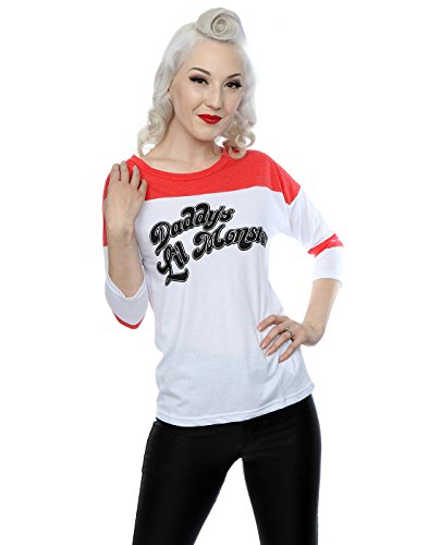 Suicide Squad Donna Harley Quinn Daddy's Lil Monster Shirt manica 3/4 baseball Large Bianco rosso