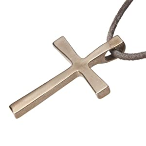 Large Cross Peace Bronze Pendant Necklace on Adjustable Natural Fiber Cord