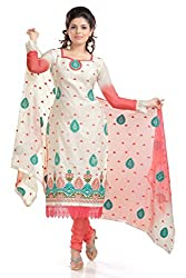Ethnic For You Women's Cotton Salwar Suit Dress Material(ETH5869_Off-White)