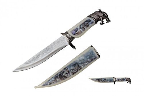"""13.5"""" Collector's Wildlife Collection Hunting Bowie Knife The American Fighting Wolf With Decorative Sheath & Handel"""