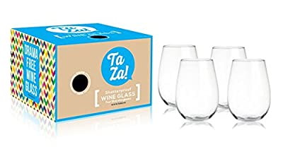 TaZa Unbreakable Wine Glasses - Tritan Shatterproof Plastic Glasses for White or Red Wine, Cocktails, or any Drink - Indoor or Outdoor - Ideal as Pool, Beach, Patio, Boat and Camping Wine Glasses - Crystal Clear, BPA-free and Dishwasher Safe - 16 oz - Set