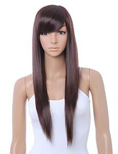 Cool2day Cute Straight Bangs Long Wig+wig Cap (Model:jf010011) (Dark Brown).