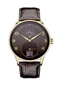 Edox Les Vauberts Brown Dial Brown Leather Strap Mens Watch 34005-37JG-GBD