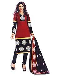 Namaskaar India Red & Black Printed Salwar Suit Dupatta Material For Women