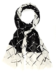 Autograph Lightweight Wool Rich Graphic Grid Scarf with Silk