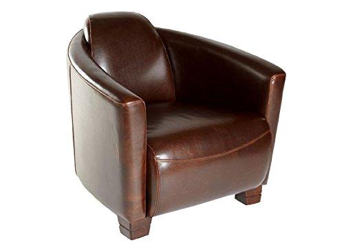 "Clubsessel Cocktailsessel ""Hera"" dunkelbraun Echtleder Vintage Lounge Sessel Ledersessel Bürosessel"