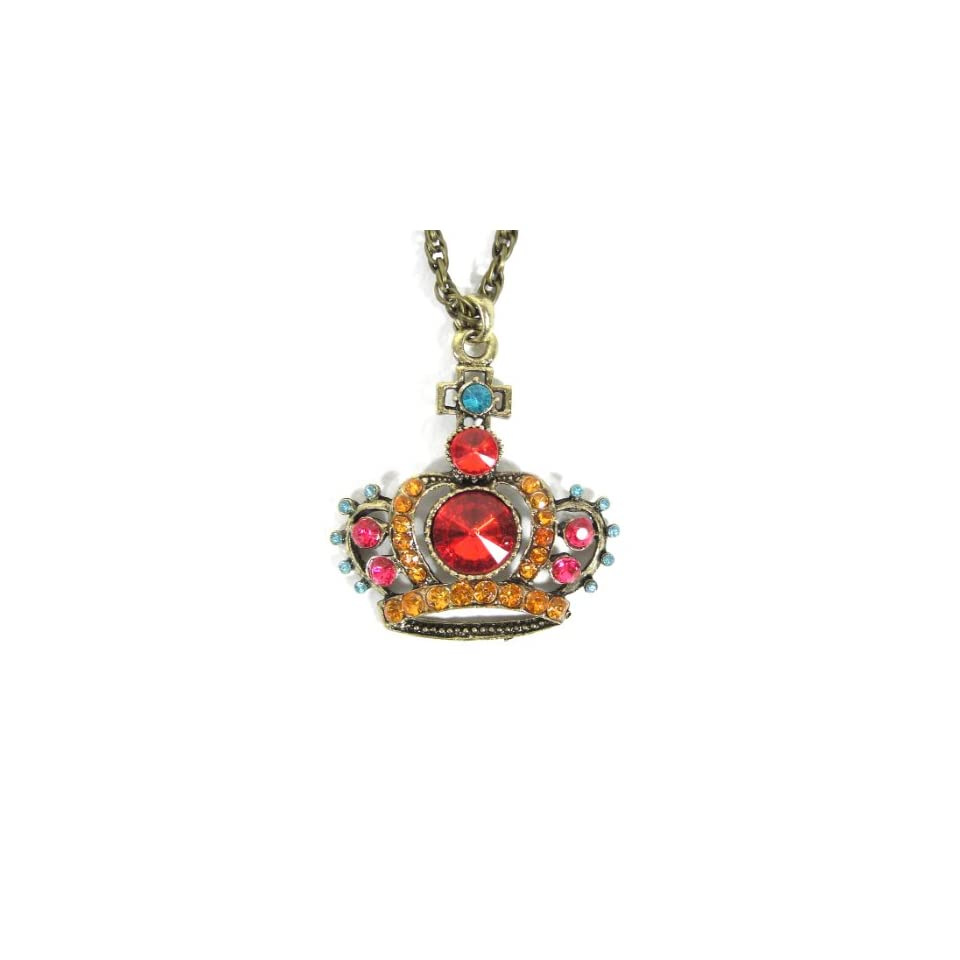 Royal Crown Necklace Gold Ruby Red Crystal Princess Charm Antique Queen Tiara Pendant Fashion Jewelry