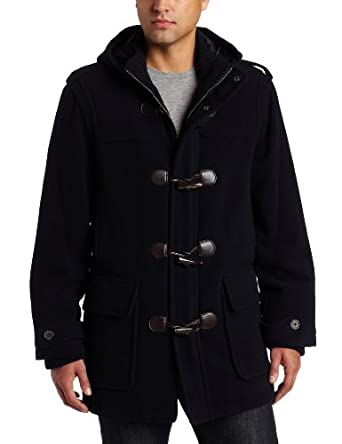 Tommy Hilfiger Men's Wool Plush Toggle Coat, Navy, Small