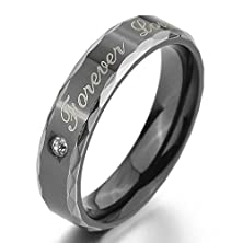 "buy Bishilin Cubic Zirconia""Forever Love"" Valentine Engagement Wedding Promise Rings Black Stainless Steel Size 10"