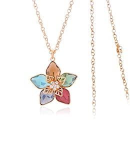 Celebrity Jewellery-125 Colorful Austrian Swarovski Elements Crystal Flower Rose Gold Plated Long Necklace for Women Free Gift Box