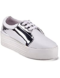 Bella Toes Women's Synthetic Leather White Silver Colour Shoes