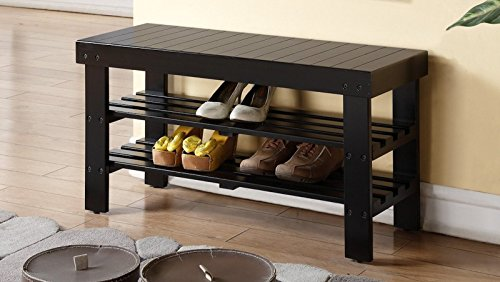 Legacy Decor 2 Tiers Wooden Shoe Bench Rack in Black Finish (Decorative Storage Bench compare prices)