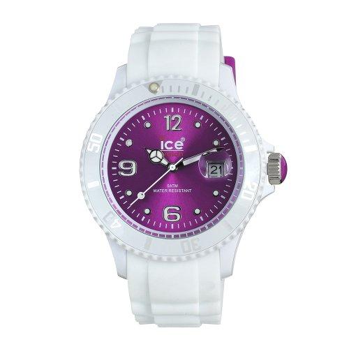 Ice Watch - SI.WV.U.S.10 - Montre Mixte - Quartz Analogique - Cadran Violet - Bracelet Silicone Blanc - Moyen Modèle