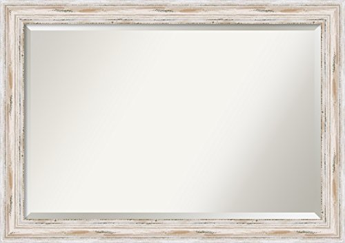 Wall Mirror Extra Large, Alexandria White Wash Wood: Outer Size 41 x 29