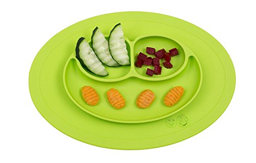 Smiley Happy Placemat, One Piece Silicone Suction Placemat and Plate - for Kids, Toddlers and Babies (Lime)