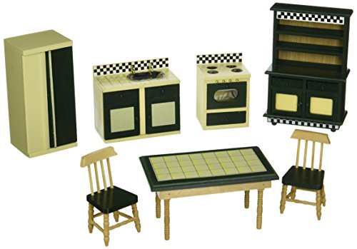 Melissa-Doug-2582-Doll-House-Kitchen-Furniture-Set-of-7-Buttery-YellowDeep-Green