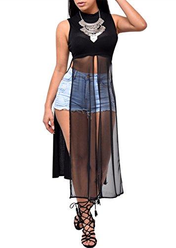 Crazy Women Racer Back Muscle Tee Vest Double Side Split Cutout Maxi Dress (Maxi Double Split compare prices)
