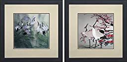 King Silk Art 100% Handmade Embroidery Feng Shui Health Mixed Group Japanese Cranes & Cherry Blossoms Framed Wildlife Bird Painting Anniversary Wedding Birthday Party Gifts Oriental Asian Wall Art Décor Artwork Hanging Picture Gallery 31001WF+31074WF