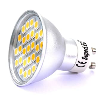 SuperLEDTM GU10 LED BULB 5.5W WITH 27 x 5050 SMD LEDs IN WARM WHITE PERFECT FOR REPLACING 50W HALOGEN