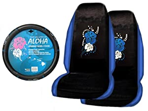 A Set of 2 Universal Fit Hawaiian Aloha Blue Seat Covers and 1 Comfort Grip Steering Wheel Cover