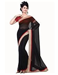 Deepika Saree Chiffon Black Saree With Blouse