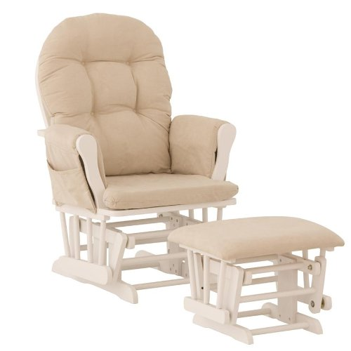 Sale!! Stork Craft Hoop Glider and Ottoman, White/Beige