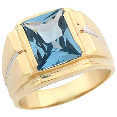 14ct Two Colour Gold Synthetic Blue Zircon December Birthstone Mens Ring