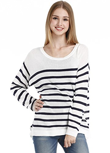 Osa Women New Striped Polo Long Sleeve Knit Pullover Sweater Casual Tops