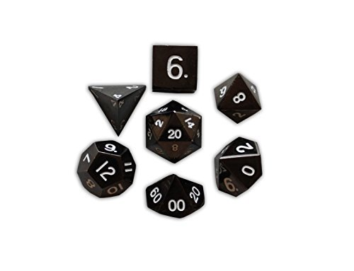 Set of 7 Drow Black Full Metal Polyhedral Dice by Norse Foundry | RPG Math Games DnD Pathfinder by Norse Foundry