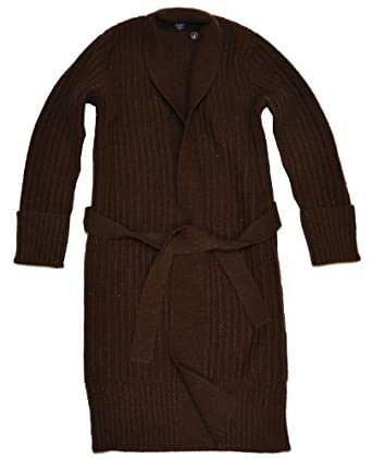 Ralph Lauren Women Belted Wool&Cashmere Cardigan Sweater Coat (S, Chocolate brown)
