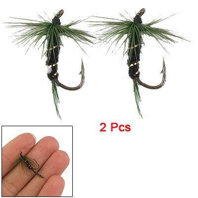 Como 2 Pcs Fish Dry Fly Fishing Green Floss Hook Tackle Simulate Lure