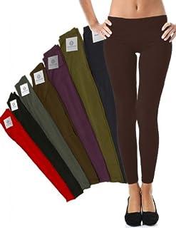 Mato & Hash Women's 90/10 Cotton Spandex Tights Pant Leggings Brown XL