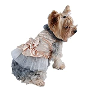 Anima Gold Satin Party Dress with Faceted Studs and Layered Tool Skirt for Dogs, X-Small
