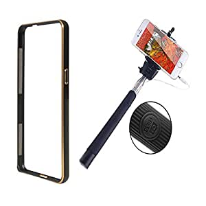 Dual Tone Circular Arc Shaped Metal Bumper Case Cover For SAMSUNG GALAXY S4 I9500 With Black color Selfie Stick