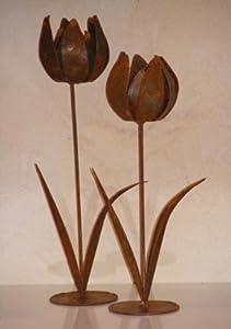 rostige metall deko tulpen dekoblume edelrost 1 amazon. Black Bedroom Furniture Sets. Home Design Ideas