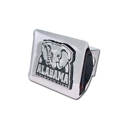University of Alabama Chrome Plated Metal Crimson Tide Logo Chrome Plated Metal Trailer Hitch Cover Fits 2 Inch Auto Car Truck Receiver
