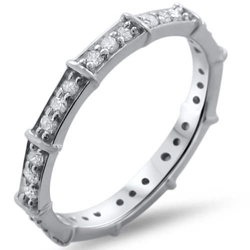 0.50CT ROUND BRILLIANT CUT DIAMONDS FULL ETERNITY WEDDING RING IN 9k WHITE GOLD