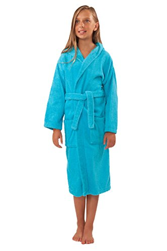Soft Touch Linen Girls and Boys Kids Hooded Terry Turkish Robe Bathrobe 100% Cotton (Large, Turquoise)